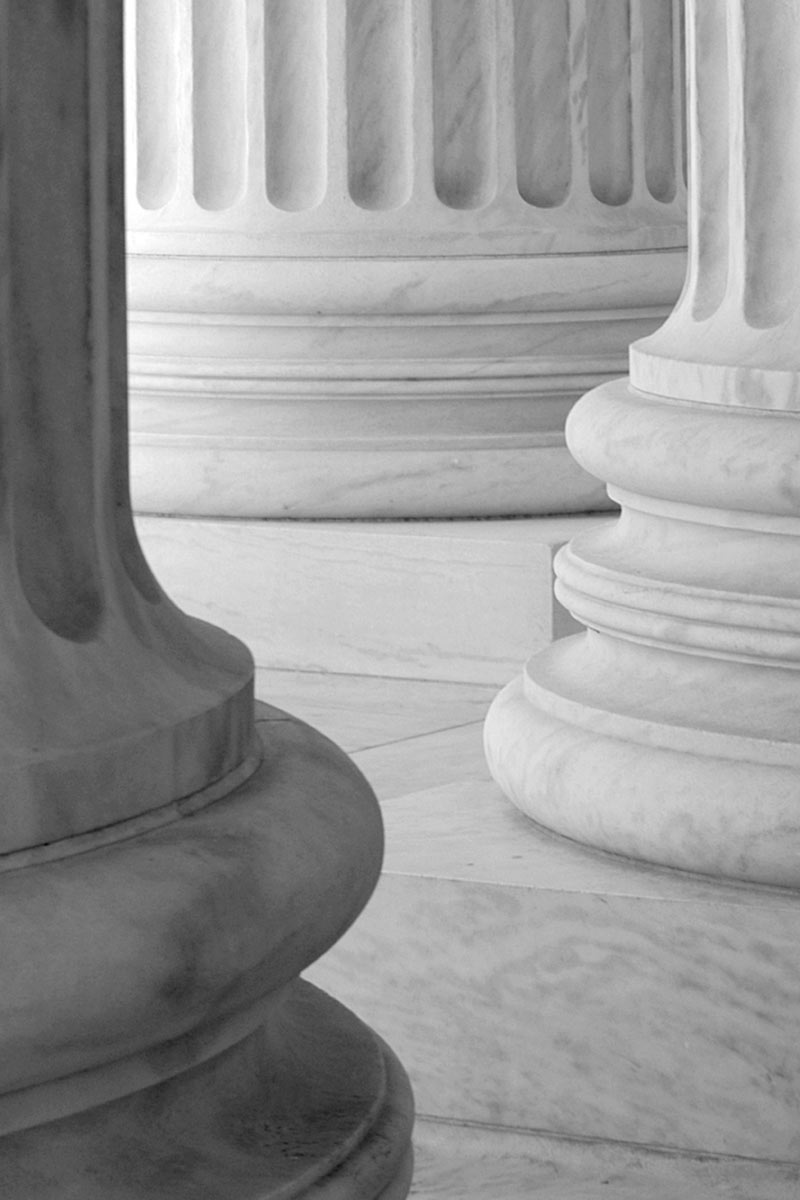 marble columns of a local courthouse