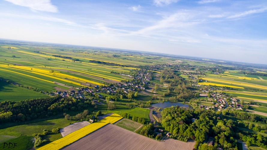 aerial view of the green and yellow agriculture of lublin poland